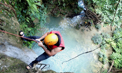 "Cliff 5: Rappelling Down ""Wang Thong Limestone Waterfall"" + Trekking"