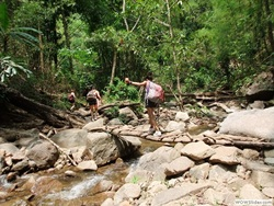 trekking to waterfall