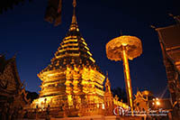 Wat Phra That Doi Suthep Temple Tour in the evening is featured on one of the most sacred temple in Chiang Mai