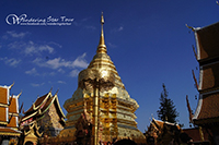 See the Northern Thai dented corner golden pagoda which contain the relic of the Lord Buddha
