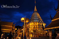 Doi Suthep Temple, the most important temple in Chiang Mai. Exercising time by walking up 306 steps to the temples or taking the funicular to the temple with the attitude at 1,100m above the sea level