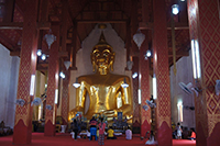 "at Si Khom Kham, Locals call this temple ""Wat Phrachao Ton Luang"", after the principal Buddha image hosted in the temple. The famous seated statue has a 14-meter lap and a height of 16 meters,"