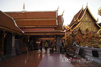 Wat Phra That Doi Suthep Temple, the most important temple in Chiang Mai. Exercising time by walking up 306 steps to the temples or taking the funicular to the temple